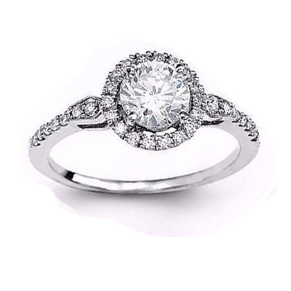 .20 ctw. 14K White Gold Diamond Halo Engagement Ring