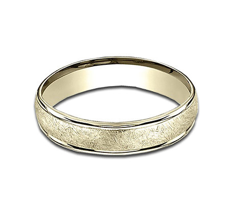 4.5 mm 14k Yellow Gold Band with  a Swirl Center