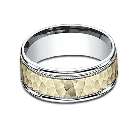 8 mm 14k yellow and white hammered finished band
