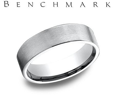 14k flat brushed wedding band