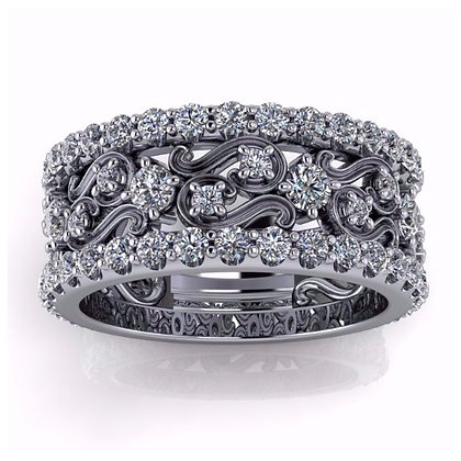 Wide Filigree Diamond Band 1.5 ctw