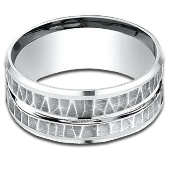 9 mm 14k White Gold Band with Hammered Finish