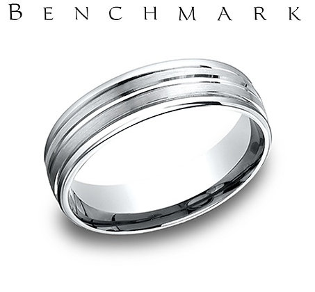 14k wire center grooved wedding band