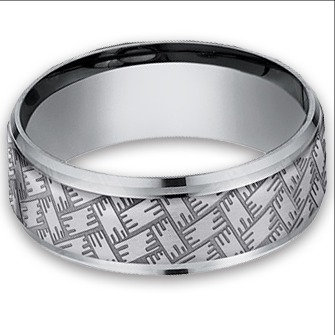 8 mm Threaded Weave Designed Tantalum Band