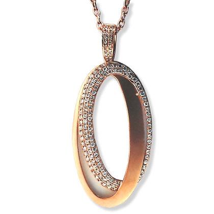 18k rose gold 0.66 ctw diamond oval Pendant