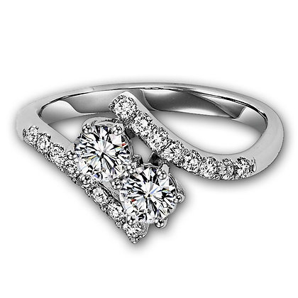 "14k white gold ""Twogether"" design 1/2 ctw"