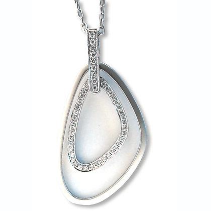 18k white gold 0.42 ctw double free form diamond Pendant