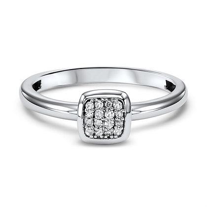 14K Gold Square Shaped Diamond Ring