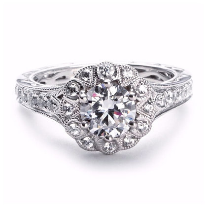 .57 ct 14k Halo Diamond Engagement Ring