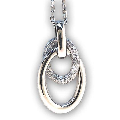 18k white gold 0.40 ctw double oval diamond Pendant