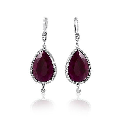 White Gold Ruby and .24 ctw Diamond Earrings