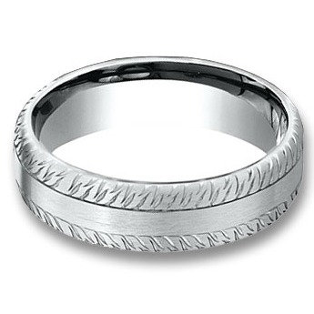 6.5 mm 14k White Gold Feather Design Band