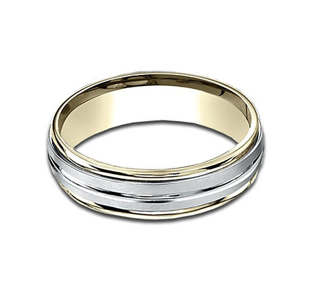 6 mm 14k White and Yellow Gold Band with A Ridged Center