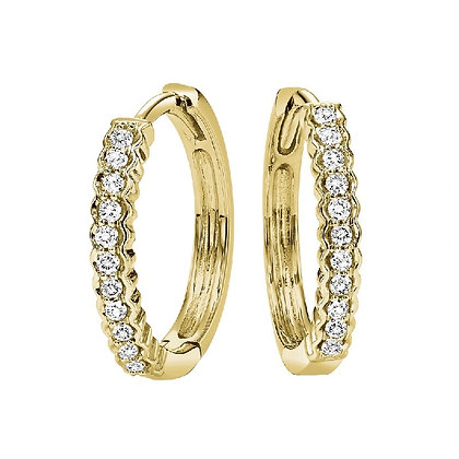 14k Gold and Diamond Hugger Earrings