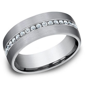 7.5mm Grooved Satin Center .40 ct. Created Diamond Band
