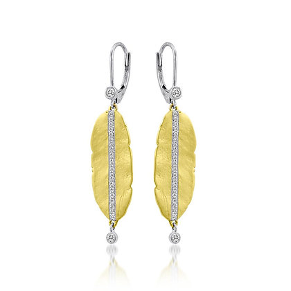 Leaf Yellow Gold Earrings with .24 ctw Diamonds