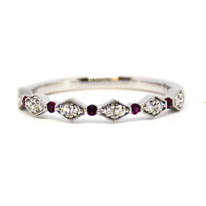 0.18 ctw. White Gold Ruby and Diamond Band