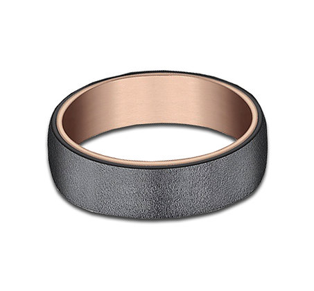 6.5 mm 14k Rose Gold and Tantalum Layered Band