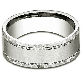 8 mm 14k White Gold Band with Satin & Hammered Finish