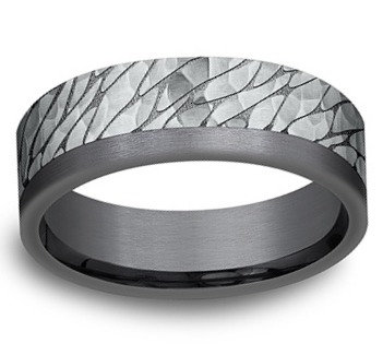 14k White Gold and Tantalum Dry Ground Design 7 mm Band