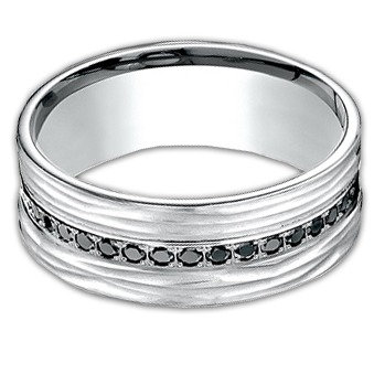 10 mm 14k White Gold Band with Black Diamonds