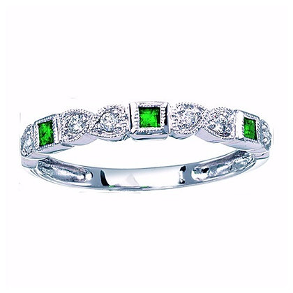 10k Square Emerald and Diamond Band