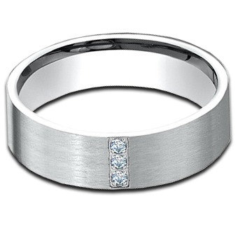 6 mm 14k White Gold Diamond Band with  .06 ctw
