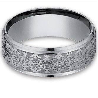 8 mm Cross in Circle Designed Tantalum Band