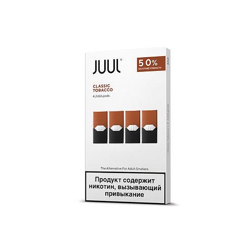 Поды для JUUL - CLASSIC TOBACCO- упаковка из 4-х картриджей