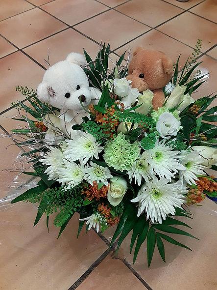 Bouquet rond avec ourson