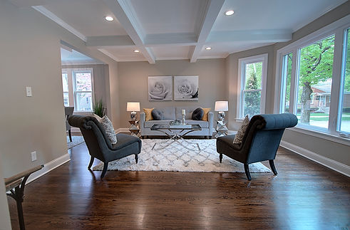 Family Room in Naperville designed by MRM Home Design