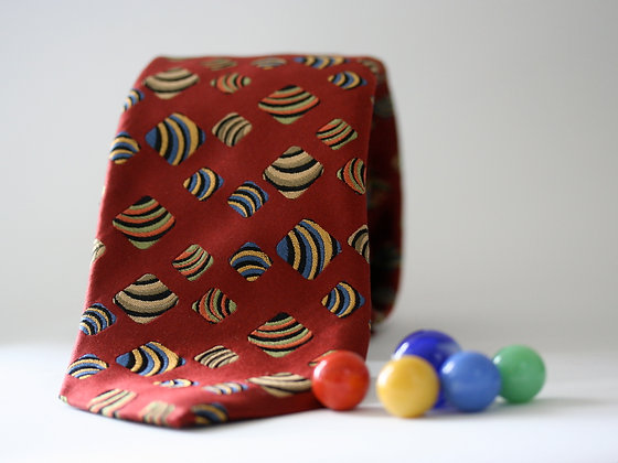 Cayenne Red Art Deco Silk Handmade Tie
