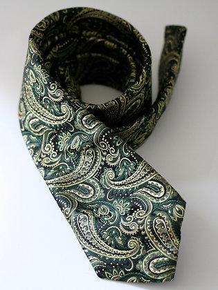 Black and  Cream Paisley Handmade Silk Tie
