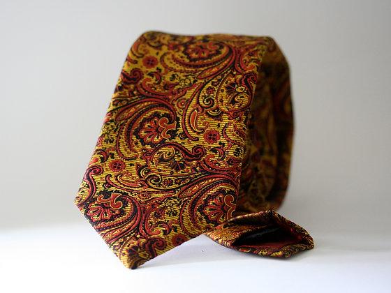 Ocher and Scarlet Paisley Handmade Silk TIe