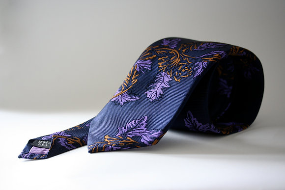 Navy Horizontal Twill Pure Silk Handmade Tie