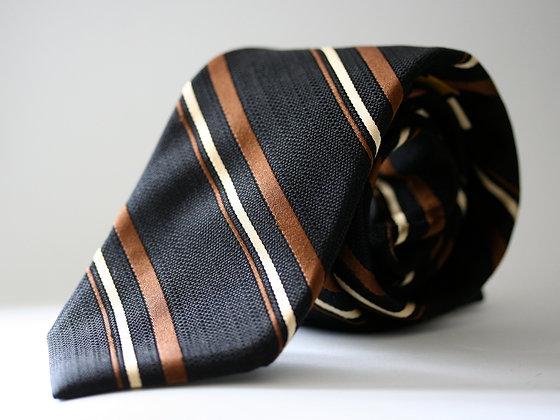 Black Textured Stripe Pure Silk Handmade Tie