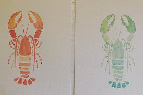 6x9 Watercolor Lobster Original
