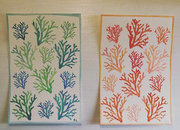 6x9 Watercolor Coral Original