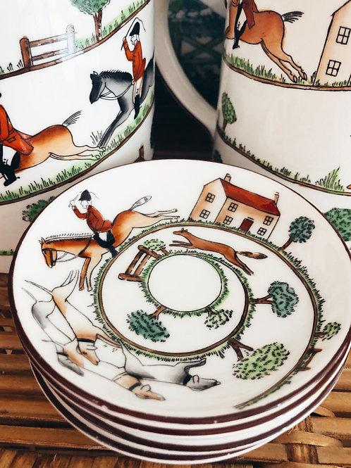 4 Vintage Staffordshire Hunting Scene Plates