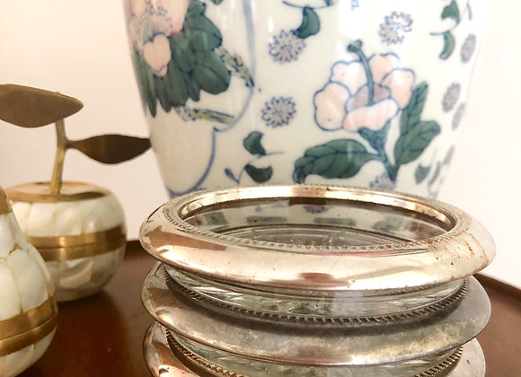 Set of 4 Silver + Crystal Coasters