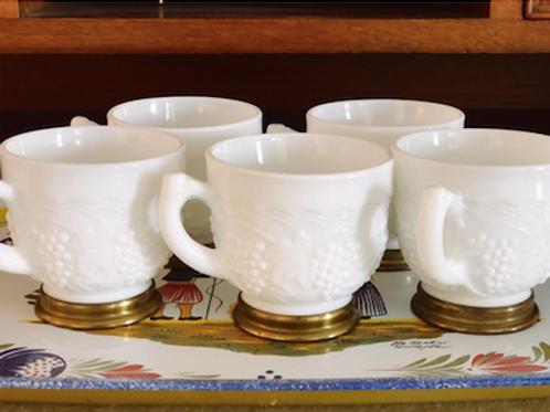 Set of 5 Imperial Milk Glasses