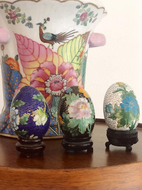 Set of 3 Cloisonne Eggs