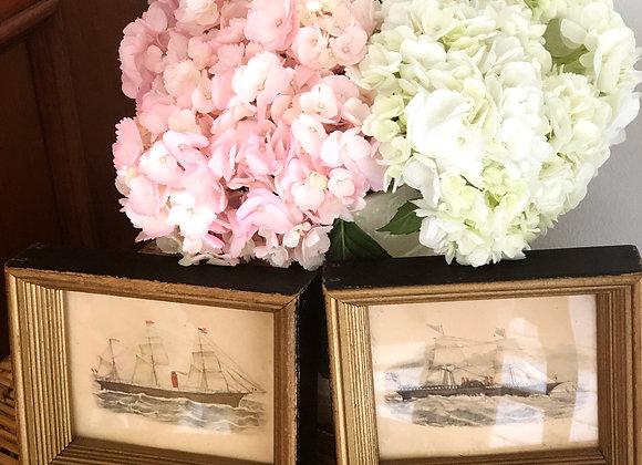 Pair Vintage Framed Ship Scene