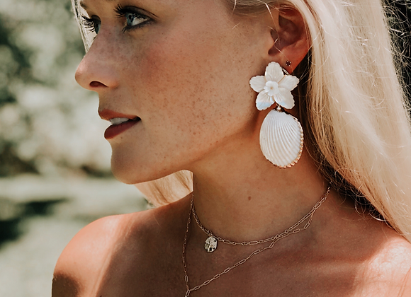 LA MER Original Statement Earrings - White
