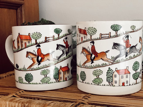 Pair of Vintage Staffordshire Hunting Scene Coffee Mugs