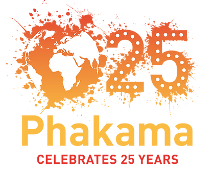 Phakama logo - a paint splatter that creates the world. The number 25 next to it and Phakama Celebrates 25 Years beneith.png