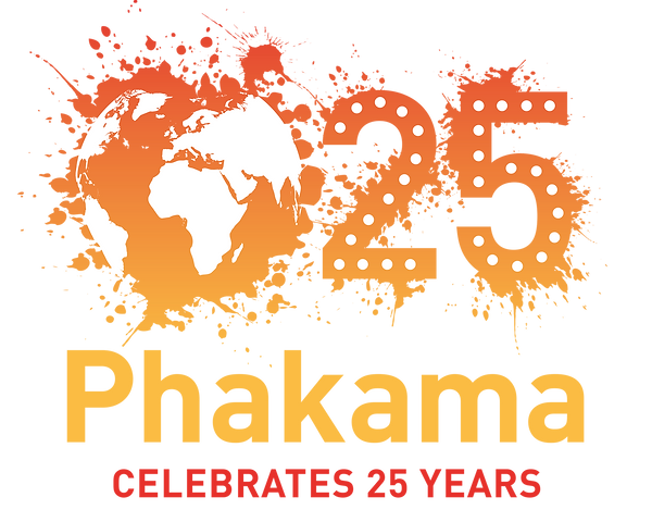 Phakama logo - a paint splatter that creates the world. The number 25 next to it and Phakama Celebrates 25 Years beneath.png