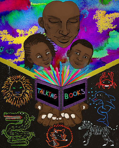 Talking Books poster. A mother holds open a book which has colour exploding out of it, her face and the faces of two children are above the book. Surrounding the book are different colourful animals. credit Ellis Lewis-Dragstra