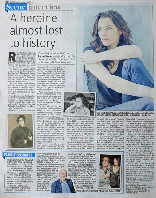 Rachel Weisz - article in the Metro