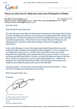 Thank you letter from Dr.Rabbi Zola